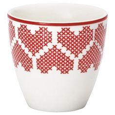 GreenGate Stoneware Mini Latte Cup December Red H 6,5 cm