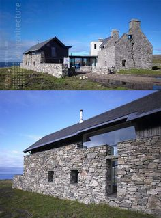 On the tiny island of Coll with just two hundred residents off the coast of Scotland sits a modest masterwork of modern renovation – a brand new home slotted delicately inside the (reinforced) crumbling stone ruins of an ancient local manor. by WT Architecture