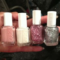 The line up at Jenny Packham. Left to Right: 'eternal optimist', 'allure', 'a cut above' and 'set in stones'. #essieNYFW #NYFW