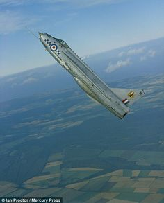 A Lightning of based at RAF Leaconfield is seen demonstrating its impressive climb ability over the East Yorkshire countryside in September 1965 Military Jets, Military Aircraft, Fighter Aircraft, Fighter Jets, V Force, War Jet, Aviation Image, Aviation Art, Royal Air Force