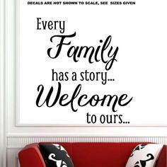 Every Family Has A Story Quote Wall Art Sticker Vinyl Decal Various Sizes Door Stickers, Sticker Vinyl, Wall Decals, Quote Wall, Wall Art Quotes, Wing Wall, African Market, Name Wall Art, Smooth Walls