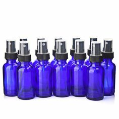 12 X 2017 New Empty Cobalt Blue Glass Spray Bottle Containers with Black Fine Mist Sprayers for essential oil cosmetic Essential Oil Spray, Essential Oils, Glass Spray Bottle, Water Bottle, Bleu Cobalt, Incense Cones, Bottle Sizes, Empty Bottles, Aromatherapy Oils