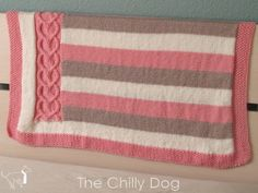 Hearts and Stripes Baby Afghan - Knitting Pattern PDF