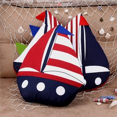 sailing boat pillow Mediterranean Style home decor cushion sofa throw pillows kids toys - Electronic Pro Market Sofa Throw Pillows, Linen Pillows, Cushions On Sofa, Sofa Bed, Decorative Cushions, Rag Garland, Striped Cushions, Macrame Patterns, Baby Quilts