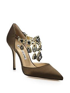 Manolo Blahnik - Zullin Satin Jeweled D'Orsay Pumps