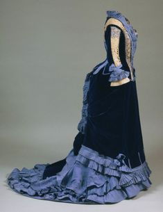 Silk Faille and Velvet Dress with Tatted Lace Inserts, ca....