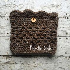 Aran Brown Tweed Boot Cuffs Tweed Button Scallop Leg Warmers Crochet Handmade