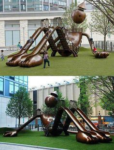 It is fun design playground and installation. Park Playground, Playground Design, Outdoor Playground, Landscape Architecture, Landscape Design, Tom Otterness, Cool Playgrounds, Kids Play Area, Street Furniture
