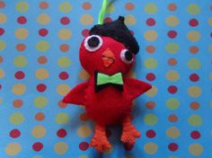 Felt Red Beatnik Bird Ornament by Pepperland by Pepperland on Etsy