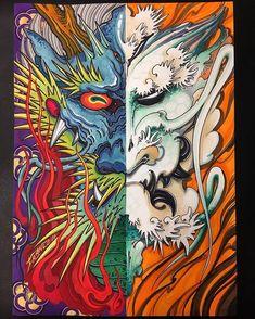 Hannya Tattoo, Fusion Art, Dragon Print, Japanese Dragon, Creative Tattoos, Italian Artist, Collaboration, Best Friends, Artwork