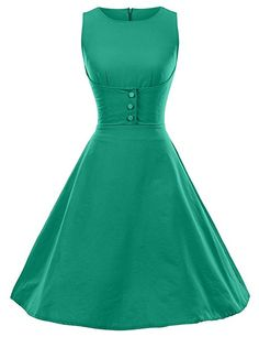 GownTown 1950s Vintage Dresses O-neck sleeveless Dresses Swing Stretchy Dresses, XX-Large, Green