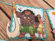 Moana Personalized Banner/ cake topper/ paper straws/ cupcake toppers/ center piece/ welcome sign/ and more. by YulisCraft on Etsy https://www.etsy.com/listing/490449740/moana-personalized-banner-cake-topper