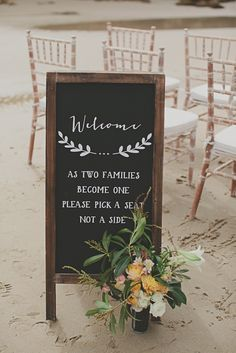 15 Romantic And Basic Beach Wedding Ceremony Ideas Wedding Ceremony Seating, Beach Ceremony, Wedding Signage, Wedding Reception, Wedding Ushers, Renewal Wedding, Church Ceremony, Wedding Attire, Wedding Table
