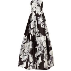 Rental ML Monique Lhuillier Silver Mikado Gown ($160) ❤ liked on Polyvore featuring dresses, gowns, white full skirt, white strapless dress, white evening dresses, silver evening dresses y white evening gowns