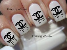 Dripping Chanel Logo Nail Decals on Etsy, £1.68