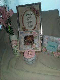 A five piece rose theme collection Rose Vase, Rose Pictures, Keepsake Boxes, Picture Frames, Candle Holders, Day, Beautiful, Collection, Portrait Frames