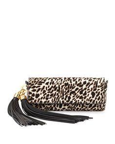 Claudette Top-Flap Clutch in Snow Leopard by ZAC Zac Posen. Omg, I'm in love! Swoon