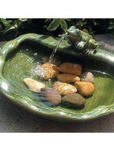 Ceramic Solar Frog Fountain - Ground Level   Gardeners.com