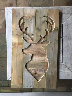 Hert hoofd hout silouette kerst