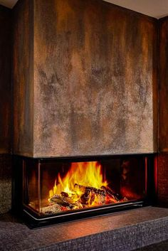 The rust look is the architectural fireplace Eck von B ... - #Architectural #Eck #Fireplace #indoordesign #rust #von