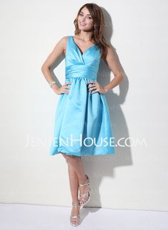 Bridesmaid Dresses - $90.99 - A-Line/Princess V-neck Knee-Length Satin Bridesmaid Dresses With Ruffle (007000941) http://jenjenhouse.com/A-line-Princess-V-neck-Knee-length-Satin-Bridesmaid-Dresses-With-Ruffle-007000941-g941