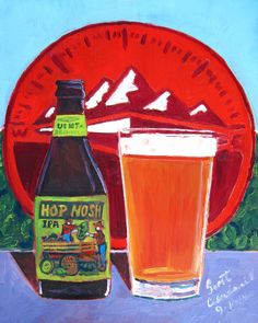 Beer Painting of Hop Nosh IPA by Uinta Brewing Co. Year of Beer Paintings - Day 262.