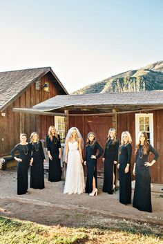 Would you dress your bridesmaids in long sleeve black maxis? Is this look chic or too dramatic? Winter Bridesmaid Dresses, Winter Bridesmaids, Black Bridesmaids, Bridesmaid Outfit, Bridesmaids And Groomsmen, Wedding Party Dresses, Wedding Bridesmaids, Bridesmaid Ideas, Farm Wedding