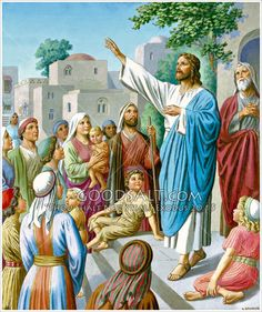 Jesus Preaching in Village Valley Of Dry Bones, Lds Pictures, Jesus Christ Images, Christian Artwork, Bible Illustrations, High Priest, Holy Ghost, Religious Art, Names Of Jesus