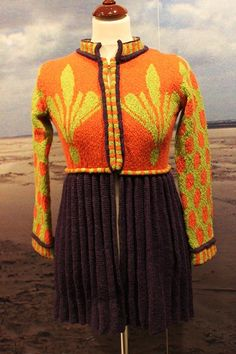 "The bridemaid's pleated jacket blueberry/orange/green. Kits for my book FANØSTRIK - Colours of Fanø - You find the knittingpattern in my Knittingbook ""Fanøstrik - Colours of Fanø"""
