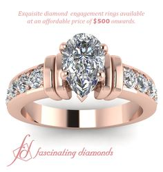 Accentuating Loops pear shape Diamond Engagement ring in rose gold metal