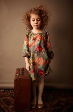Kicokids patchwork effect dress in fine wool for children's fashion winter 2011