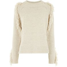 Vanessa Bruno Ecru Fringe Knit Elodee Jumper (€435) ❤ liked on Polyvore featuring tops, sweaters, long knit sweater, ribbed sweater, raglan sweater, crew sweater and white top