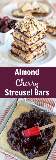 Almond Cherry Streusel Bars - Buttery, crumbly bars with a bold almond flavor and a filling made from sweet cherries. This recipe uses frozen cherries and can be made year round.: