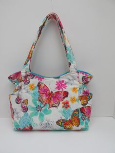 Medium Butterfly Shoulder Bag, Pink Turquoise White Handbag, Summer Bag, Papillion Bag, Tote Purse, Quilted Handbag, Sling Purse, Baby Bag by JustBeautiful161 on Etsy