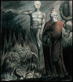 William Blake - Lucifer and the Pope in Hell (The King of Babylon), ca 1805