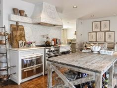Kitchen Organization:Part 2 - Design Chic - love this distressed wood kitchen island
