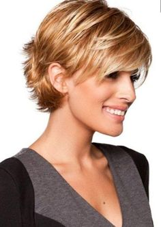 Short Sassy Haircuts For Fine Hair Trick Fine Hair Styles For Women, Short Hair Styles For Round Faces, Short Hair With Bangs, Short Hair With Layers, Short Hair Cuts For Women, Curly Hair Styles, Short Cuts, Short Wavy, Hair Bangs