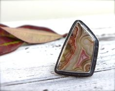 Crazy lace agate ring. Sterling silver large banded by ForestBook, $139.00