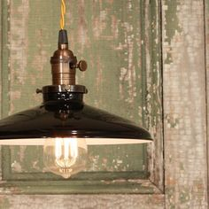 Lighting With Black Enamel Shade & Reproduction Twisted Wire on Etsy, Retro Lighting, Rustic Lighting, Pendant Lighting, Pendant Lamps, Industrial Lighting, Interior Lighting, Lighting Ideas, I Like Lamp, Modern Kitchen Design