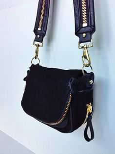 Black Suede Purse with Gold Zippers by karenkalashnik on Etsy