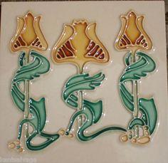 Tube Lined Art Decco Nouveau Hand Painted Ceramic Tile