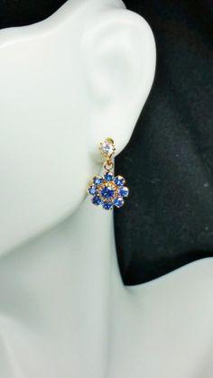 Dainty Blue Fllower Swarovski Earrings by KeithSnyderCreations, $19.99