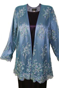 Plus Size Mother of Bride Gabi Jacket Beaded French Lace Blue is subtle watercolor of blues, lilacs, turquoises, applied with a quick and light hand. Hand-applied beading, couture finish, fully lined. Perfect for Mother of the Bride, and special occasions of all kinds.