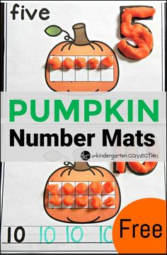 Pumpkin number mats- I will have to make some pumpkin pie scented play dough to go with these.