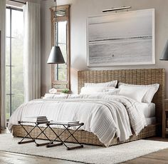 RH's Antilles Rattan Bed:Inspired by the clean, modern lines of mid-20th century design, our platform bed pairs a contemporary,…
