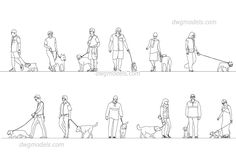 People With Dogs - CAD Blocks, free dwg file.