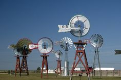Antique windmills in Spearman, TX