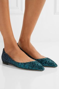 Jimmy Choo - Romy Dégradé Glittered Leather Point-toe Flats - Teal - IT39.5