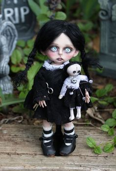 Wednesday Addams 6.5 inch #1 of my bjd Lil' Poe Collection.