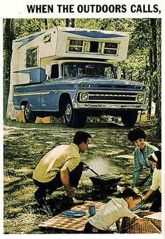 Chevrolet Pickup with Camper.  We put many a mile on our cab-over camper going to the lake.